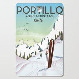 Portillo Ski Chile Ski travel poster. Cutting Board