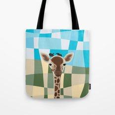 Wild Giraffe Baby on the grassland Tote Bag