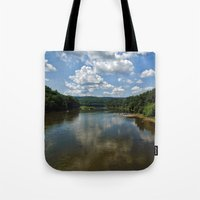river song Tote Bags featuring Song of the Delaware River by PamelasDreams