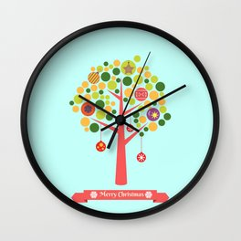 Christmas tree illustration Wall Clock