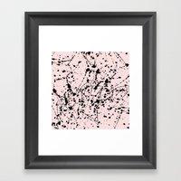 Splat Black on Pink Framed Art Print