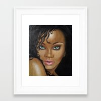 rihanna Framed Art Prints featuring Rihanna by Lauri Loewenberg