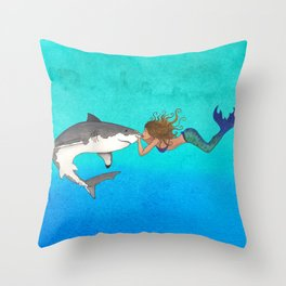 The Shark and the Mermaid Throw Pillow