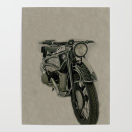 BM army green bike vintage look Poster
