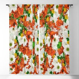 Rusty Cloudy Daisies Blackout Curtain