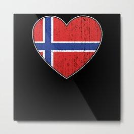 Norway Flag Love Heart Norwegian Metal Print