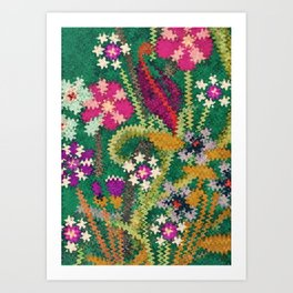 Starry Floral Felted Wool, Green Art Print