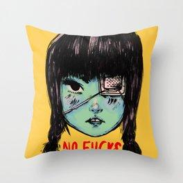 no fucks Throw Pillow
