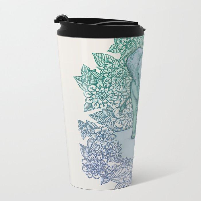 Emerald Elephant in the Lilac Evening Metal Travel Mug