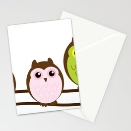Colorful Owl Birds Cutest Stationery Cards