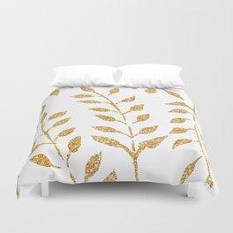 Gold Glitter Fronds Duvet Cover