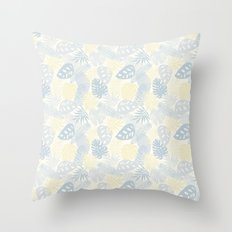 Tropical Leaves Pattern Yellow And Grey Throw Pillow