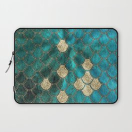 Multicolor Aqua And Gold Mermaid Scales -  Beautiful Abstract Pattern Laptop Sleeve
