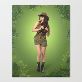 """""""Attention Campers"""" - The Playful Pinup - Jungle Adventure Pin-up Girl by Maxwell H. Johnson Canvas Print"""