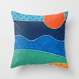 La plage le soir Throw Pillow