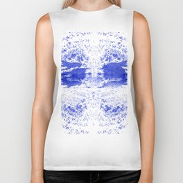 Deep Ocean Blue with White Caps Biker Tank