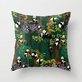 Both Species of Panda - Green Throw Pillow