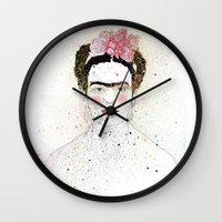 frida kahlo Wall Clocks featuring Frida Kahlo  by Marttala