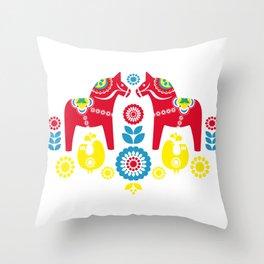 Swedish Dalahäst Throw Pillow