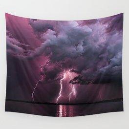 Lightening Strike in Purple Storm Wall Tapestry