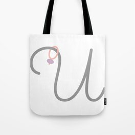 U Initial with Stitch Marker Tote Bag