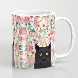 Black Cat florals spring summer animal portrait pet friendly cat lady gifts for her or him cute cats Coffee Mug