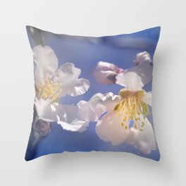 """Winter spring"". Almond flowers. Throw Pillow"