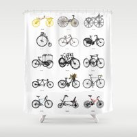 bicycles Shower Curtains featuring Bicycles by MuDesignbyMugeBaris