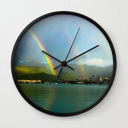 Hawaii Double Rainbow Wall Clock