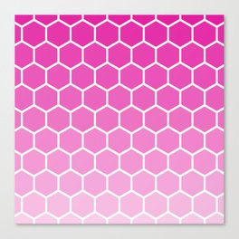 Fuchsia pink gradient honey comb pattern Canvas Print