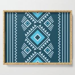 Blue geometric pattern Serving Tray
