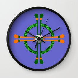 Hurley and Ball Celtic Cross Design - Solid colour background Wall Clock