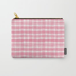 Watercolor Brushstroke Plaid Pattern Pantone Pink Lemonade 16-1735 Carry-All Pouch