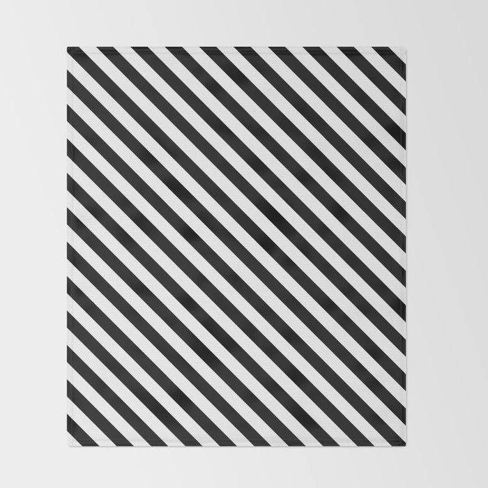 Diagonal Stripes Black White Pattern Throw Blanket By Luxelab Best Black And White Striped Throw Blanket