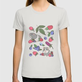 Guinea Pig Pattern in Mint Green Background with mix berries T-shirt