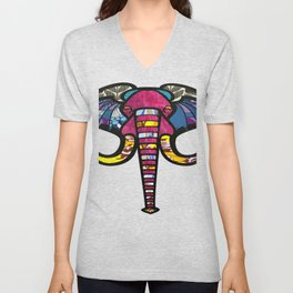 Purple Floral Elephant Unisex V-Neck