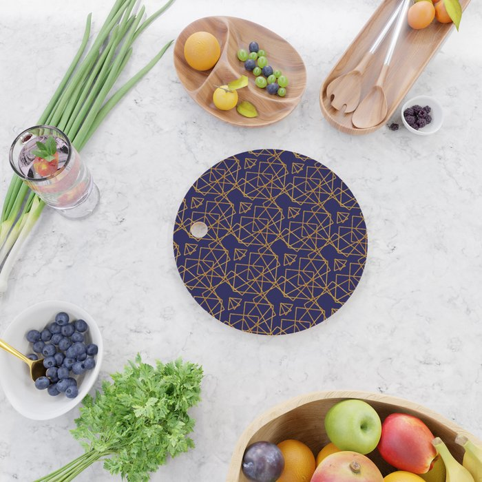 Navy blue and gold geometric print. Cutting Board