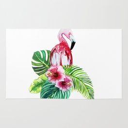 set of watercolor prints of exotic leaves and pink flowers with pink flamingos Rug