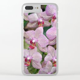 Pink and white orchids Clear iPhone Case