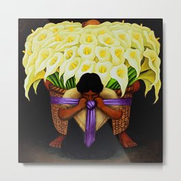 El Vendedor de Alcatraces (Lily Flower Seller with purple sash) by Diego Rivera Metal Print