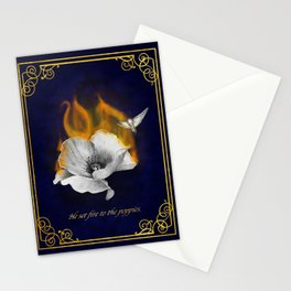 He set fire to the poppies Stationery Cards