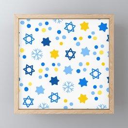 Hanukkah Blue & Gold Star Of David Contemporary Pattern Framed Mini Art Print