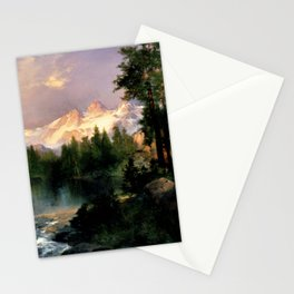 The Three Tetons, Grand Teton Mountains, Jackson Hole, Wyoming by Thomas Moran Stationery Cards