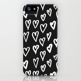 Pattern with hand-drawn Hearts iPhone Case