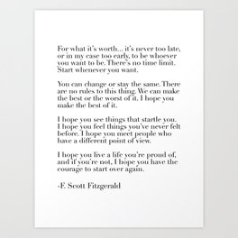 for what it's worth - fitzgerald quote Art Print