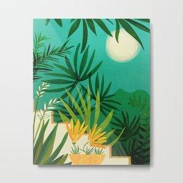 Exotic Garden Nightscape / Tropical Night Series #2 Metal Print