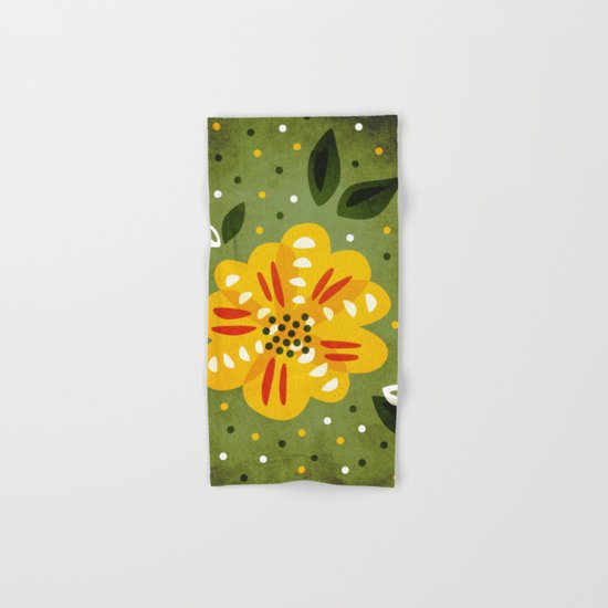 Abstract Yellow Primrose Flower Hand & Bath Towel
