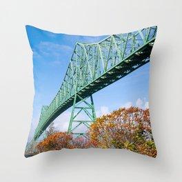 the Mighty Megler Bridge over the Columbia River, Oregon Throw Pillow