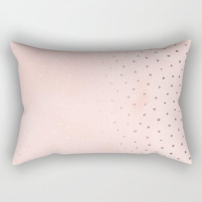 Rose Gold Pastel Pink Foil Paint Line Dots XXIII Rectangular Pillow