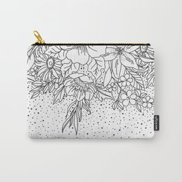 Cute Black White floral doodles and confetti design Carry-All Pouch